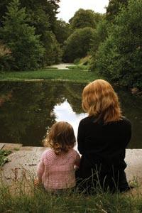 Sitting by a pond
