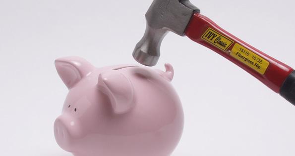 Smashing a piggy bank